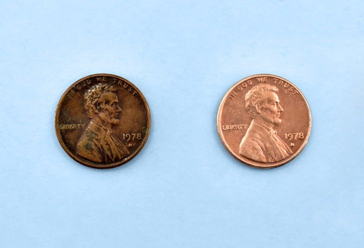 How to clean pennies with salt and vinegar, the before and after.