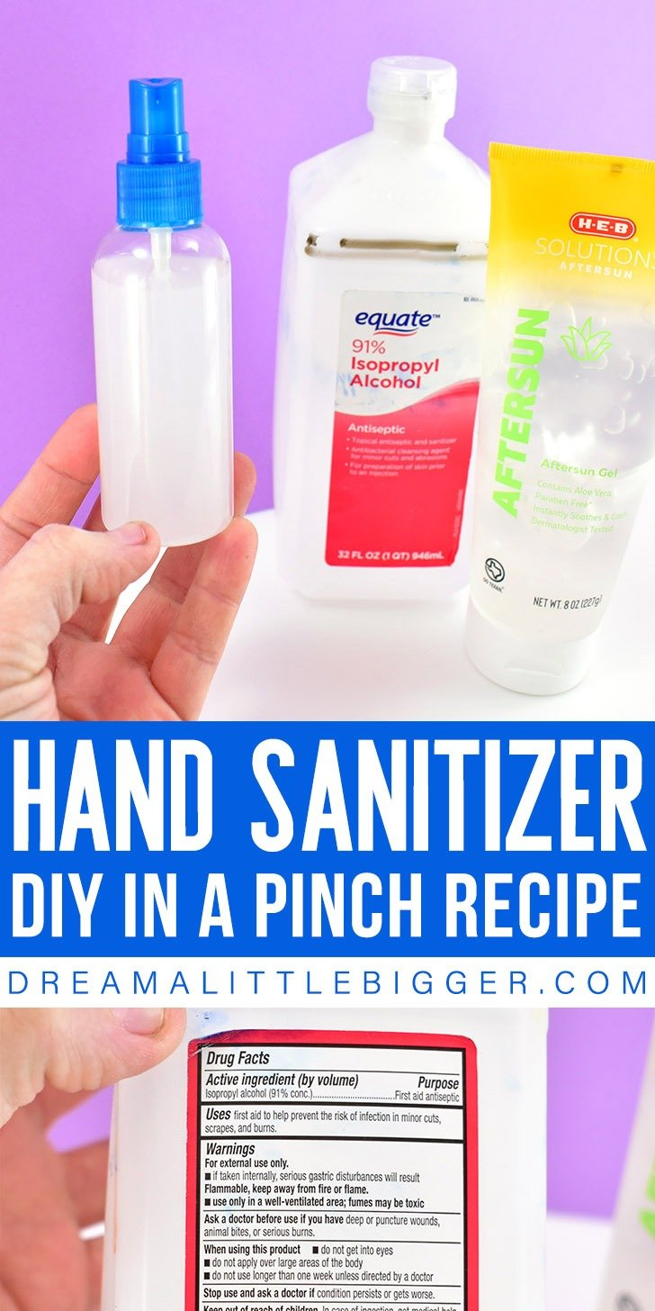 Have germs got you down? Check out this easy to make DIY hand sanitizer spray in a pinch. It only takes 2 ingredients that you might already have on hand!