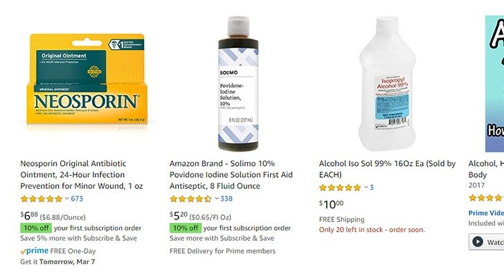 Price gouging online of rubbing alcohol and hand sanitizer because of the current health situation.