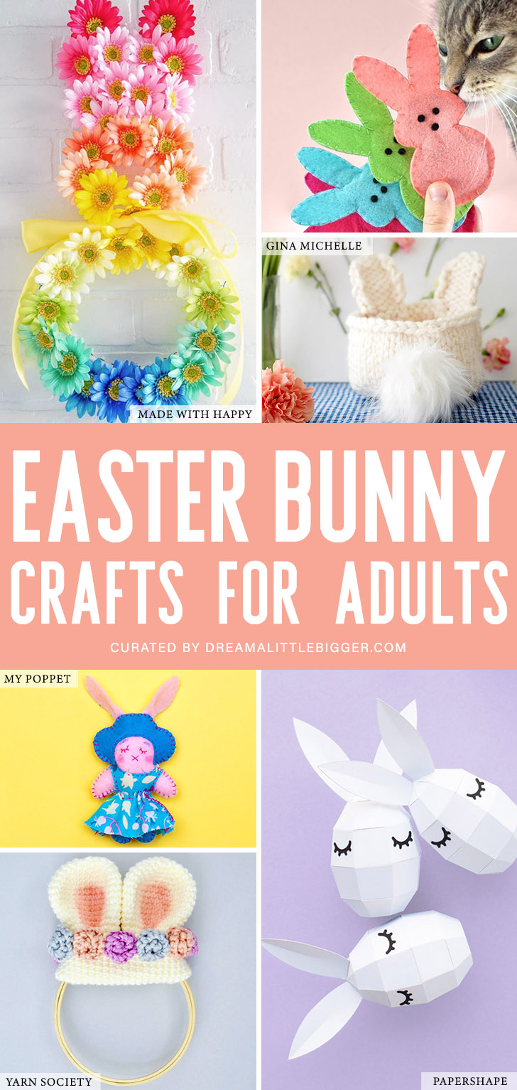 Check out the best Easter Bunny crafts for adults. There isn't a Popsicle stick or pipe cleaner in sight, just adorable DIYs you're sure to love!