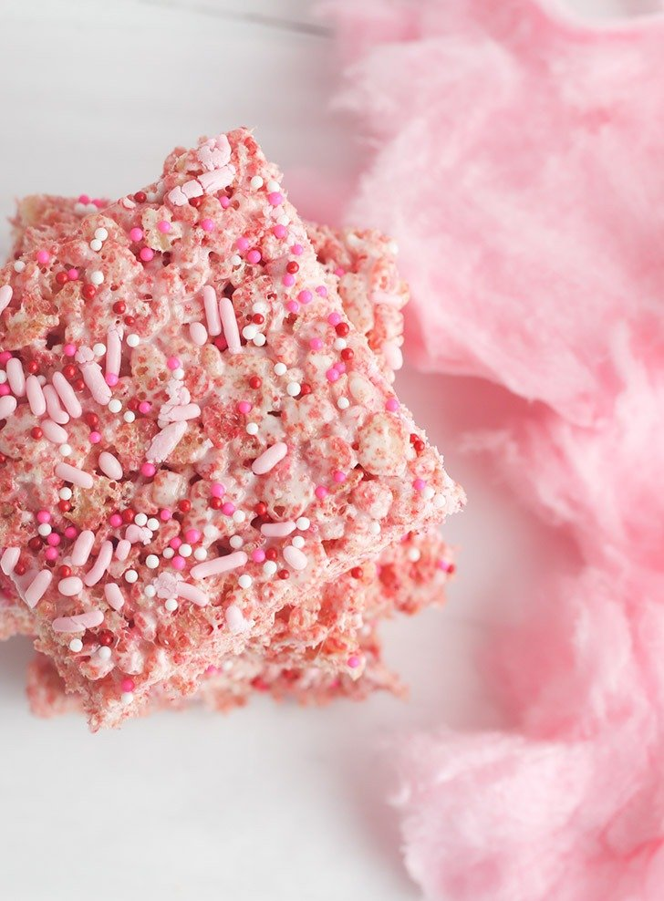 If you love cotton candy you're in for a real treat, a rice krispie treat! Easily made gluten free, these pink sweet treats are sure to please!