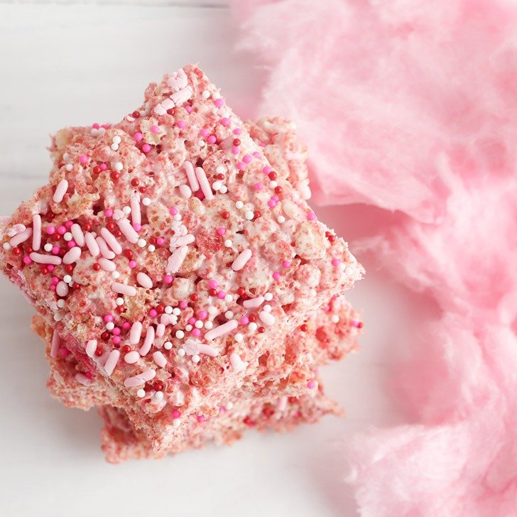 These gluten free cotton candy rice krispie treats are amazing and super easy to make!