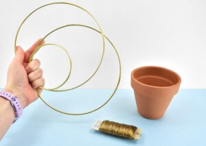 Supplies needed to make your own DIY gold ring hanging planter.