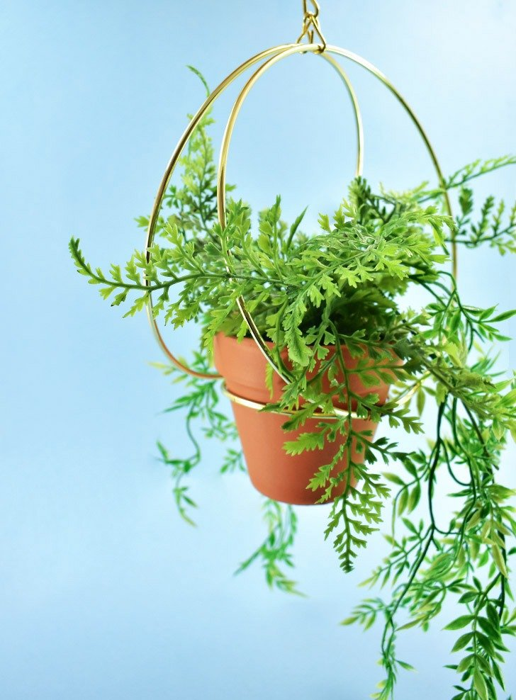 Keep houseplants safely out of reach with this super simple DIY gold ring hanging planter on the cheap in 20 minutes or less!