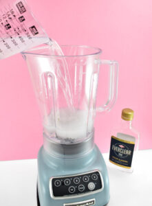 Using a blender to mix up DIY everclear hand sanitizer is super fast and incredibly effective. Just make sure that all parts of your blender are very clean.