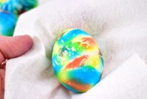 Give your dyed eggs a pretty sheen with vegetable oil.