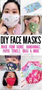 No face mask? We are sharing a ton of tutorials to show you how to make one DIY face masks out of fabric, paper towels, leggings and even bras!