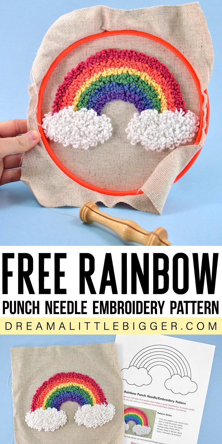 Looking for a fun and easy embroidery pattern? Get this rainbow punch needle pattern and stick around to learn how to turn it into a rainbow applique!