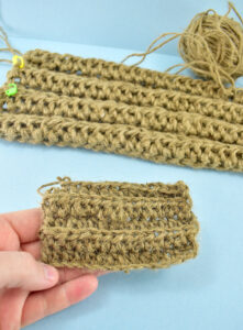 Crocheting with a single cord of jute creates a much finer result. For a nice, chunky and nicely textured doormat, you'll need to double your jute twine.
