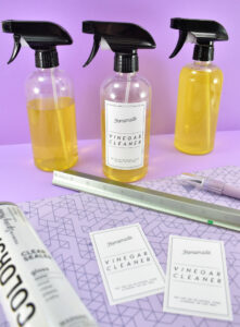 Labels can be printed on waterproof vinyl sticker paper for great looks and longevity. Simply print, cut out and apply to your DIY citrus vinegar cleaners. For an extra layer of protection, print your labels and allow them plenty of time to dry. Apply a light, even spray of sealer to ensure your labels look great for even longer.