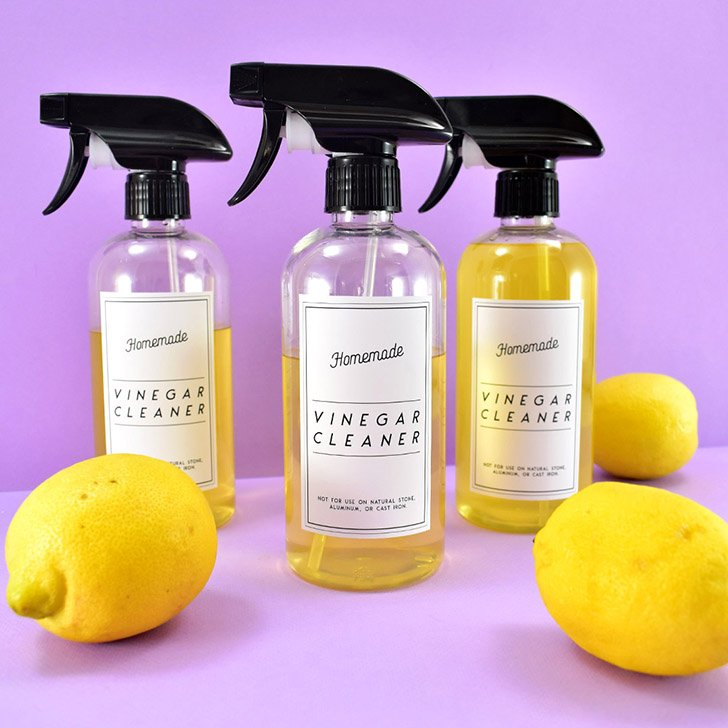 Don't like the smell of vinegar? Neither do I! Make this deliciously citrus-scented homemade vinegar cleaner and grab some free printable labels for it!
