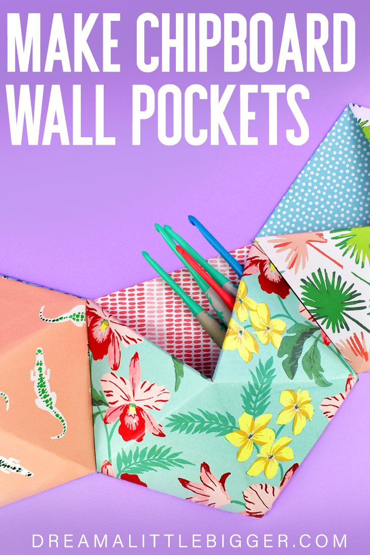 Too much stuff and not enough places to store it? Keep the little things organized with these DIY Chipboard Wall Pockets. Free pattern & tutorial.