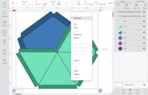"""Select the shapes in Design Space and right-click on them. Click """"UnGroup""""."""