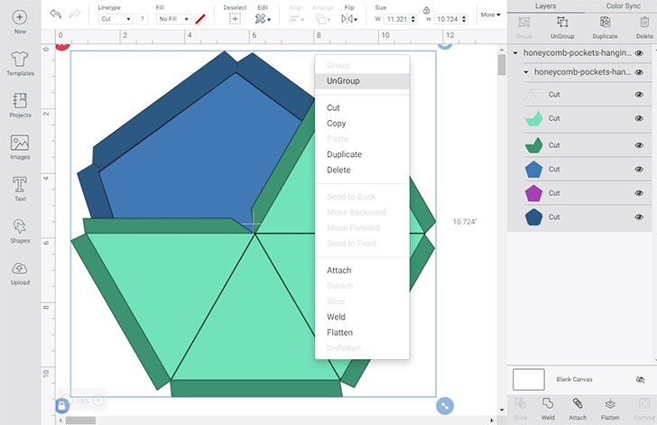 "Select the shapes in Design Space and right-click on them. Click ""UnGroup""."