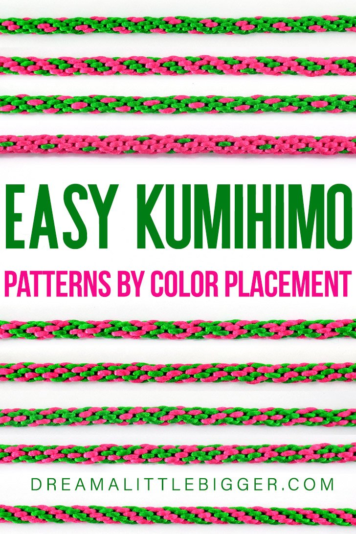 All you need are 8 cords in 2 colors to make these 9 fabulous Kumihimo patterns. Use this as a quick reference for 9 go-to Kumihimo cords!