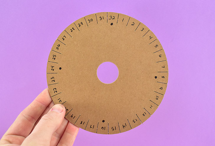 Using a pen or fine tip marker number the spokes on your disk. Dots placed at 8, 16, 24, and 32 are good reference points when placing your strings.