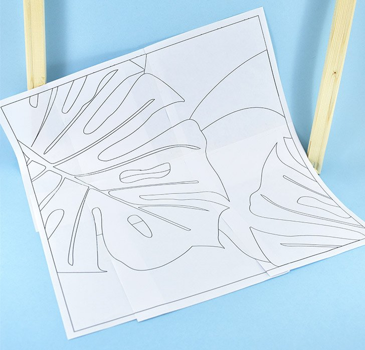 Print your free pattern. Using clear tape, piece together the last 6 pages of the PDF together to form one large pattern.