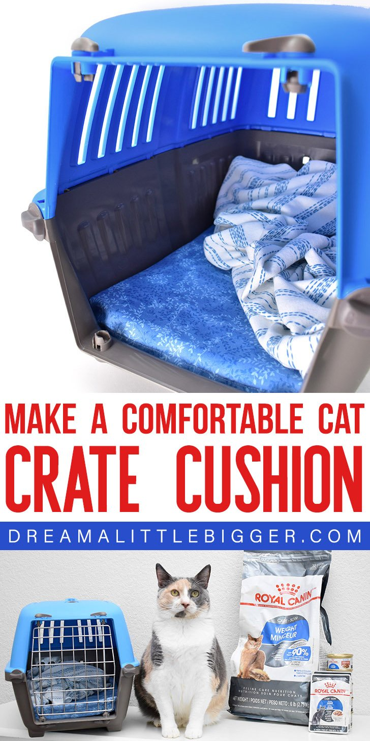 Comfortably take your cat to the vet by making them a DIY Cat Crate Cushion that's sure to help ease the discomfort of their trip!