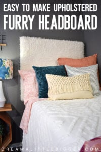 This DIY furry headboard is super easy to make and so comfy to rest against. Add some fun bohemian flair to your bed with a faux fur headboard!