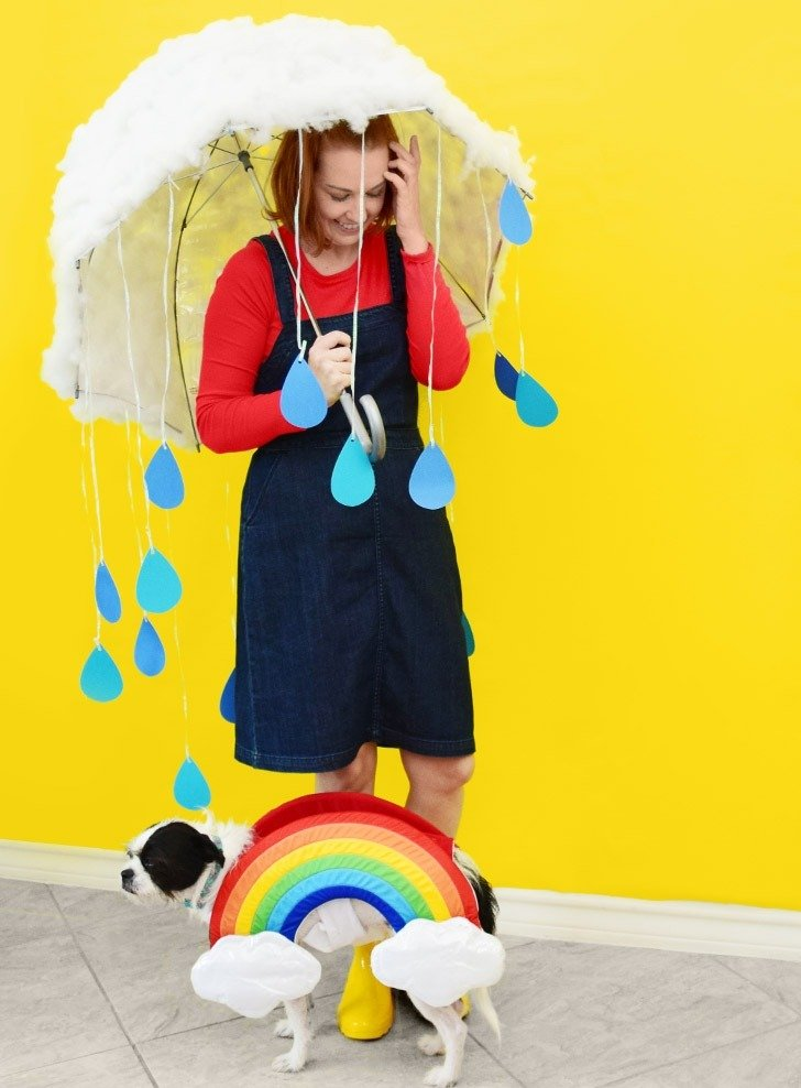 Make this adorable DIY cloud costume using an umbrella!