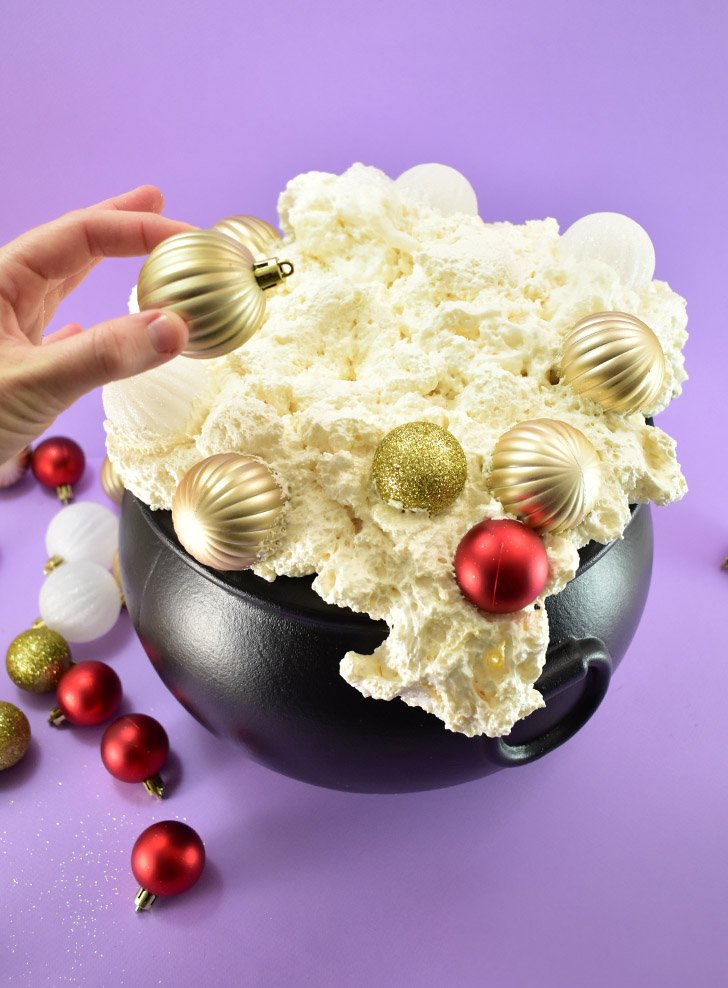 Add Christmas ornaments to the still wet foam.