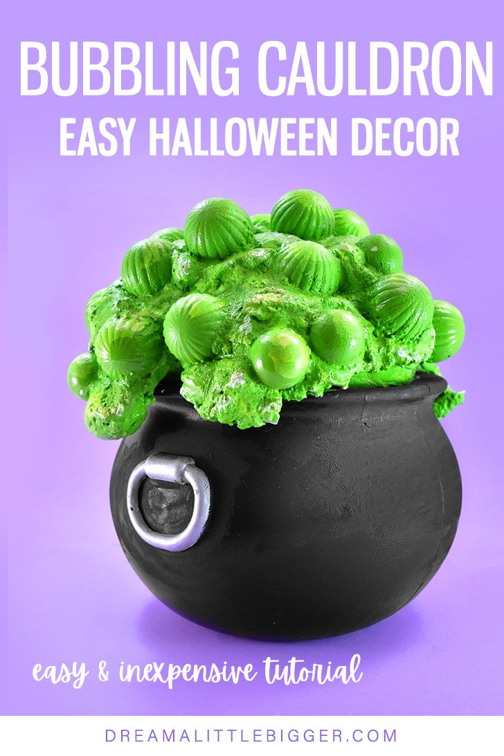 Love a witchy Halloween? This DIY Bubbling Cauldron Craft is super easy, inexpensive, lightweight, and lasts forever!
