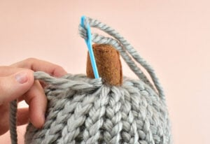 To create your first segment push the yarn needle into the pumpkin where you'd like the segment to run.