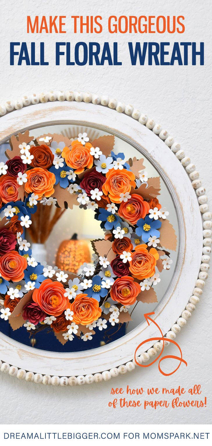 This fall paper flower wreath can be made in any colors for less than $10. Get the link to make this gorgeous accent this Autumn.
