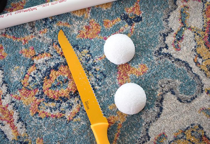 """Cut a 2.8"""" inch styrofoam ball in half."""