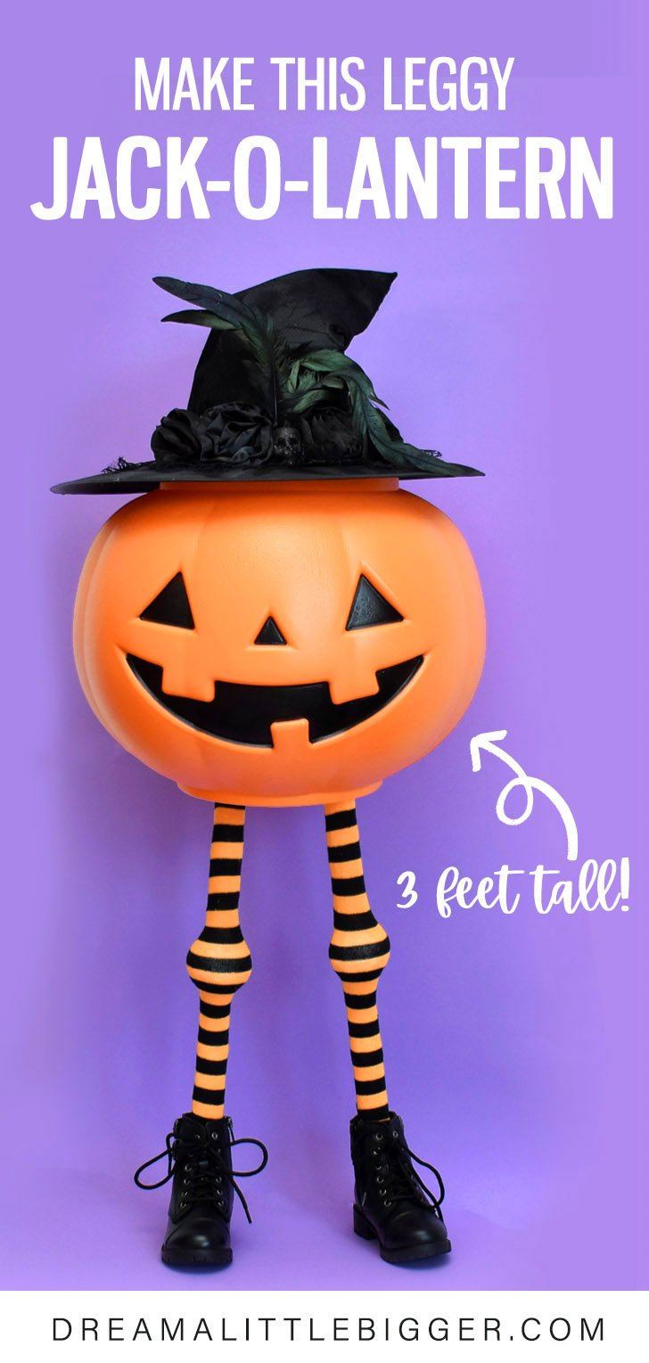 Standing at 3 feet tall, this leggy jack is the cutest DIY Halloween decoration. Make your own adorable jack-o-lantern with legs!