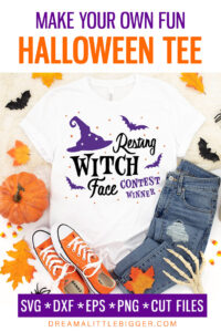Plagued by resting witch face? Celebrate it! Make this wickedly fun Resting Witch Face Shirt with our free cut files!