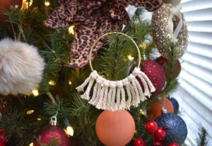 A super simple lark's head knot and some macramé cord make for super simple boho Christmas ornaments!