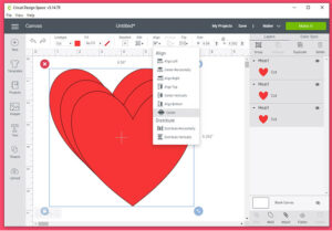 """Select all of the shapes. In the tool bar at the top of Design Space click """"Align"""". In the drop-down-menu select """"Center""""."""
