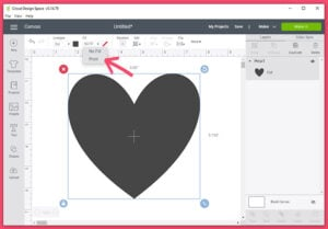 """Back in the Design Space work area select your shape to fill. In the tool bar at the top of the screen select """"Fill"""". In the drop-down menu select """"Print""""."""