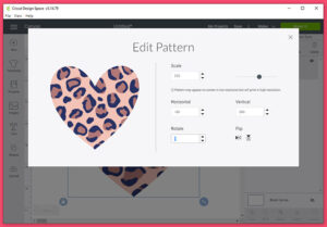 "In the Edit Pattern window you can change the scale of the design. I've increased the scale to 232 so that I have bigger leopard spots. You can also move the pattern around by entering positive and negative numbers in the ""Horizontal"" and ""Vertical"" fields. Rotation is possible by entering a degree. Flip the design horizontally or vertically by clicking one of these buttons on this screen."