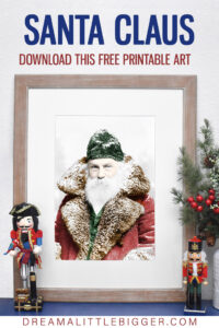 Looking for an inexpensive way to deck the walls this Christmas? Download, print, and frame this free Vintage Santa Photo!