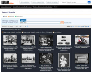You can search for Santa Claus images you can print yourself at the Library of Congress.