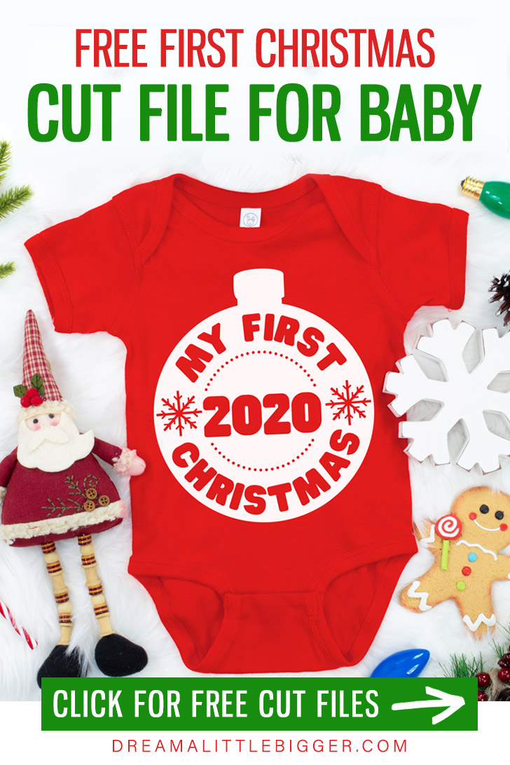 New baby? Celebrate the holidays with this free first Christmas cut file. There is even a matching cut file for older brothers and sisters!