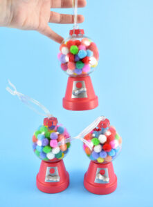 These adorable mini gumball machine Christmas ornaments are so cute and so simple to make.