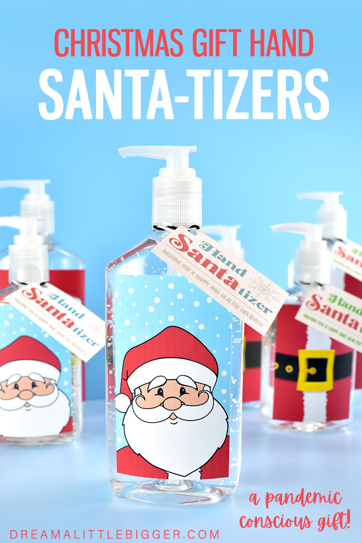 Looking for a great Christmas gift during COVID that isn't food? Download and print our free Hand Santa-tizer labels for fab DIY gifts!