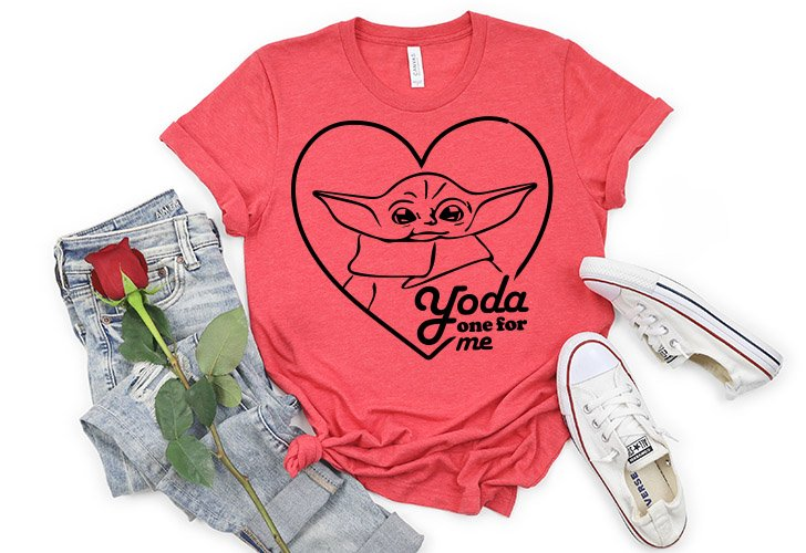 """Declare your love for your favorite Valentine with this Baby """"Yoda One for Me"""" free cut file. Perfect for any Star Wars or Mandalorian fan!"""