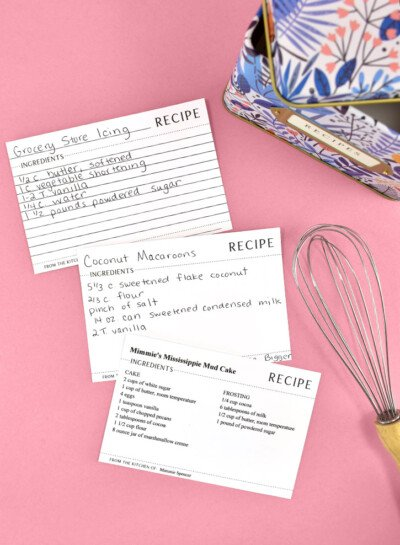 Trying to get your kitchen organized? Check out these FREE printable recipe cards you can type and print or print and hand write!