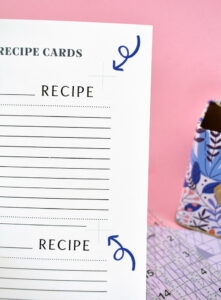 On the front side of each printed recipe sheet you'll notice 6 faint, grey plus signs.