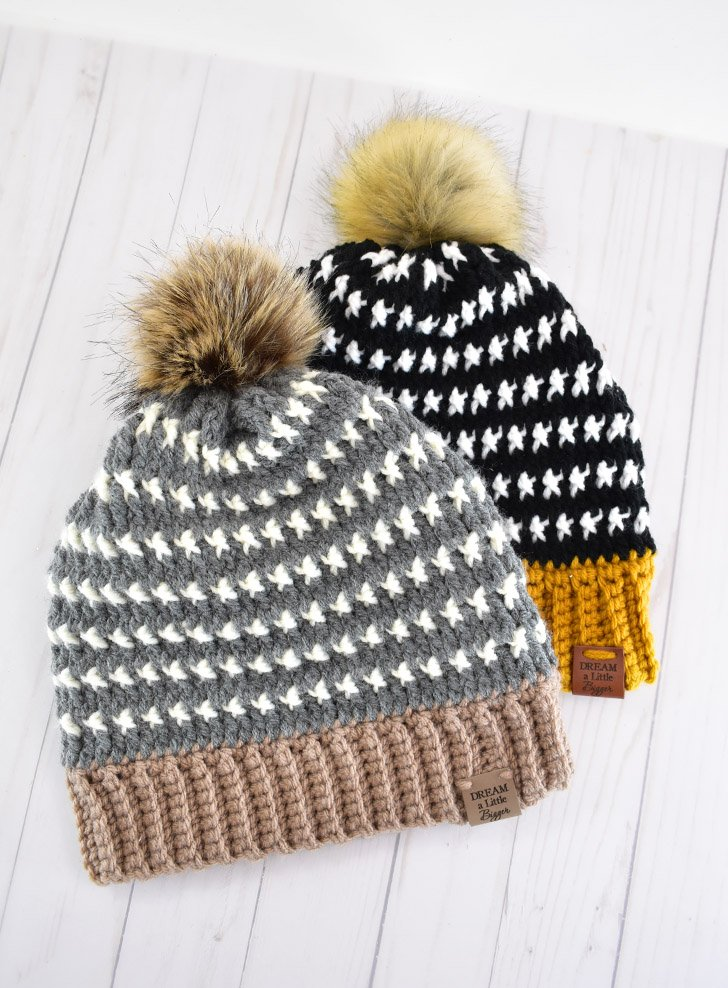 Grab the free crochet hat pattern to make your own bold, thick and super warm Uri Beanie. Designed during 2021 Winter Storm Uri!