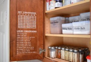 Removable vinyl makes the most perfect kitchen conversion charts so you can easily measure out dry and wet ingredients whether the recipe uses Imperial or Metric measurements!