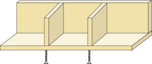 """To place the interior walls/dividers for the birdhouse measure the inside from the left at 8"""" and 16"""". Lightly glue 4.5"""" pieces into place. Screw into place from the bottom of the piece."""