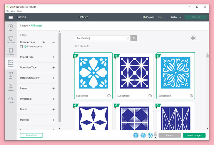 "In Cricut Design Space either open this cut file to use the same tile shape I used or you can search for ""Tile Stencils"" in images to choose your own."