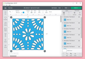 "Select your tile and then resize to 5.5"". Copy and paste the sized tile 8x for each mat you have and want to cut on one after another. (So if you have 2 mats, have 16 squares in your Design Space work area. For 3 mats, 24 and so on..."