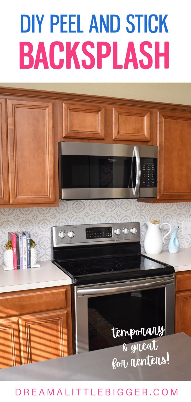 Want to update your kitchen on a budget? See how we made our own DIY peel and stick backsplash tile for a whole new look!