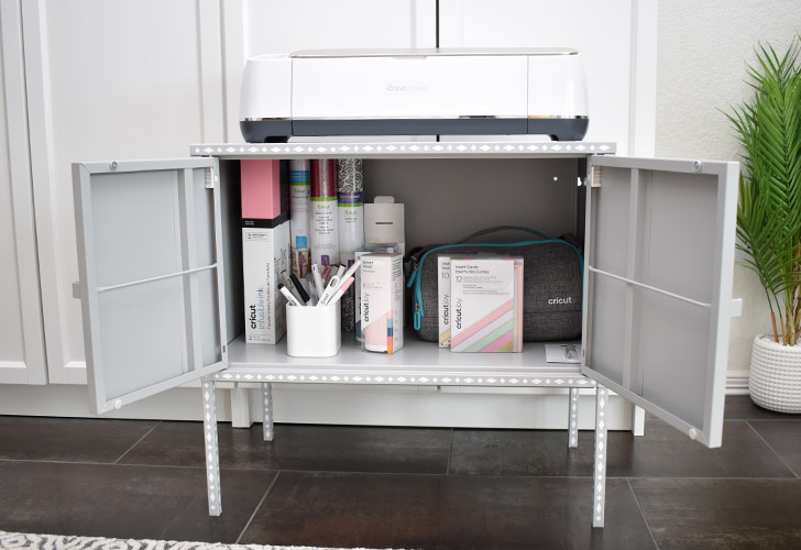 It's kind of amazing just how much this little cabinet will hold! I've got all of my supplies I plan to use soon for projects to make them quick and easy to find. I even have my Cricut Joy hanging out in there!